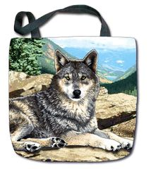 "Tapestry - ""Wolf - Grey Song"" - Tote Bag, 17x17"