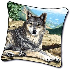 "Tapestry - ""Wolf - Grey Song"" - Pillow, 18x18"