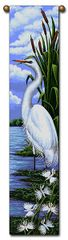 "Tapestry - ""Birds - Egret"" - Hanging Bell Pull, 8.5x40"