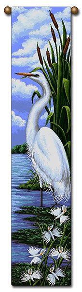"Tapestry - ""Birds - Egret"" - 8.5""x40"""