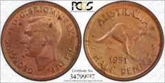 1951 Perth With Dot Half Penny Scarce Obverse Type 5 PCGS Graded MS64RB