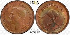 1951 Perth Half Penny Scarce Type 5 Obverse PCGS Graded MS64RB