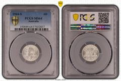 1944-S Sixpence PCGS Graded MS64