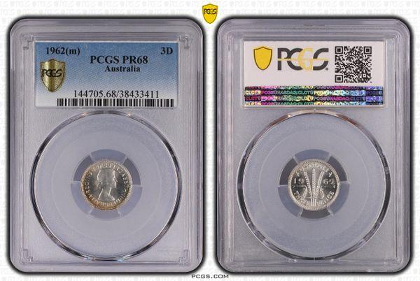 1962 Proof Threepence PCGS Graded PR68