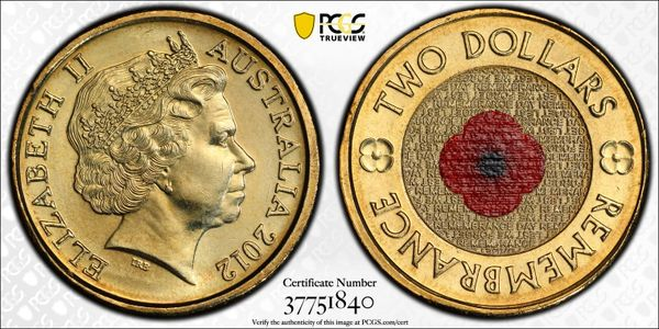 2012 Remembrance Red Poppy Two Dollar PCGS MS67