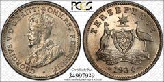 1934m Threepence PCGS Graded AU58