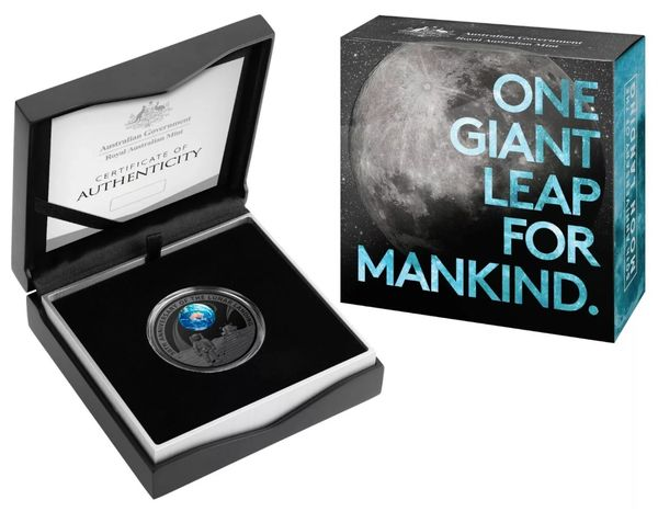 2019 50th Anniversary of the Moon Landing $5 Silver, Ni Plated Domed Proof Coin