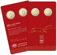 2020 Lunar Year of the Rat One Dollar $1 AlBr Uncirculated Two Coin Set