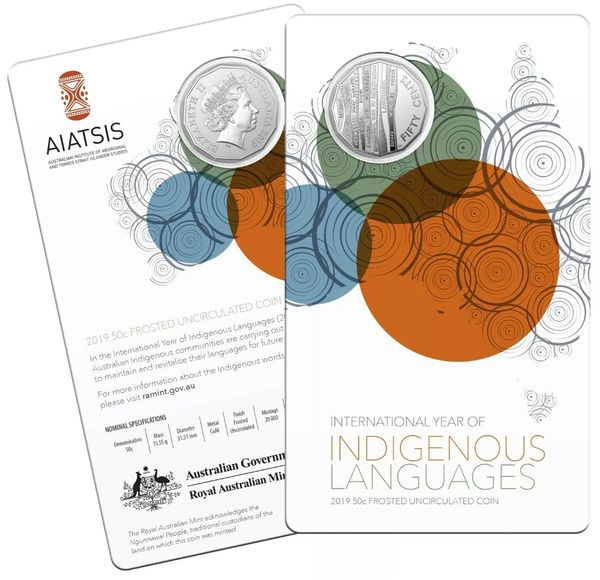 2019 Fifty Cent 50c Year Of Indigenous Languages Carded Frosted UNC Mint Coin