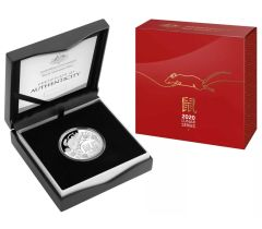 2020 Lunar Year of the Rat $5 Fine Silver Proof Domed Coin
