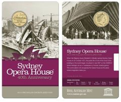 2013 40th Anniversary of the Sydney Opera House $1 One Dollar Coin on Card
