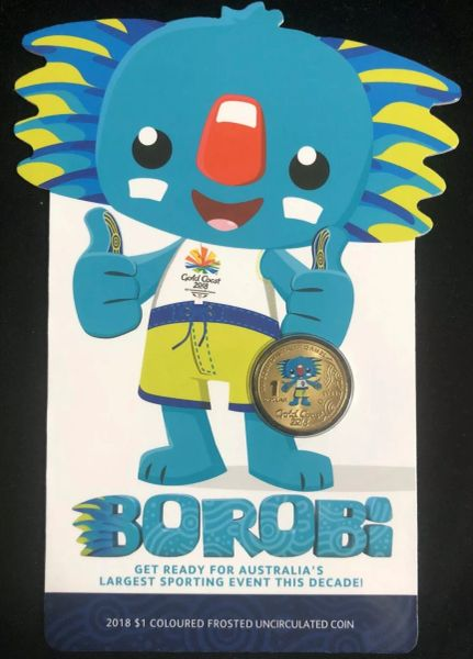 2018 $1 BOROBi Gold Coast Commonwealth Games Uncirculated Coloured Coin On Card