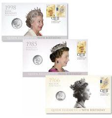 2016 20c-50c Queen Elizabeth II 90th Birthday PNC Trio Featuring all 3 Portaits