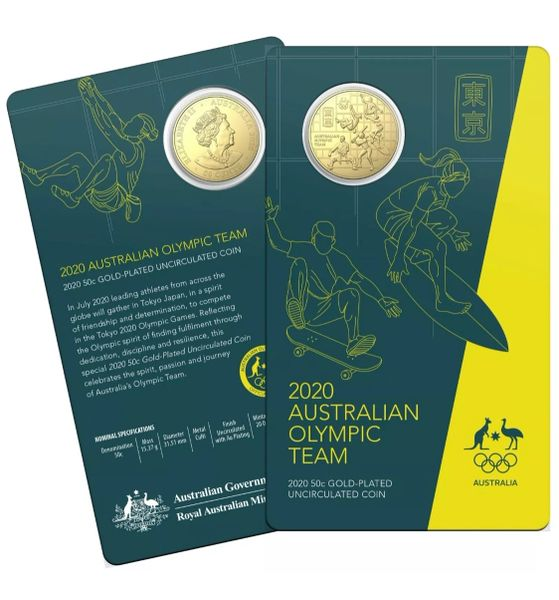 2020 Australian Olympic Team 50c Round Gold-Plated UNC Coin Carded Royal Australian Mint