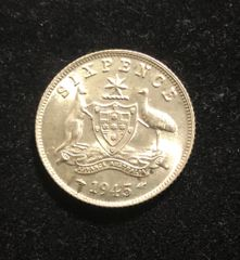 1945 Sixpence aUNC Coin
