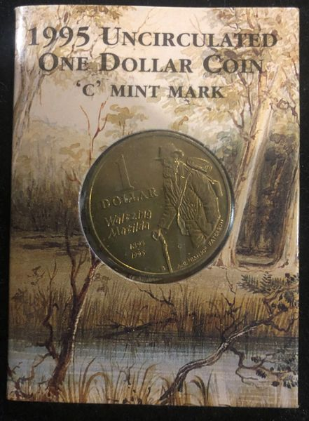 1995 'C' Mintmark Waltzing Matilda $1 One Dollar Coin in Ram Card