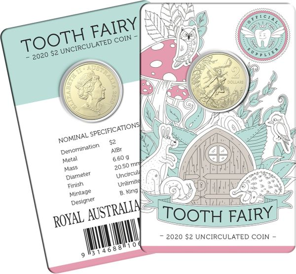 2020 Tooth Fairy $2 Coin on Card -Limit 1 per order/person or household