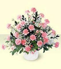 Traditional Mache Arrangement Pink Carnations