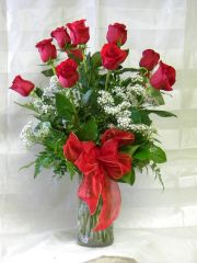Dozen Red Roses in vase