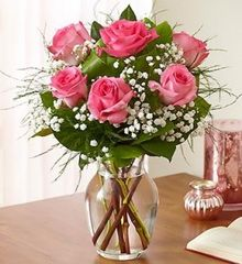 1/2 Dozen Pink Roses in vase