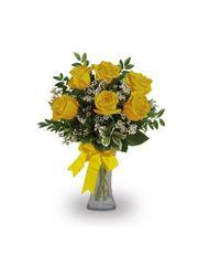 1/2 Dozen Yellow Roses in vase