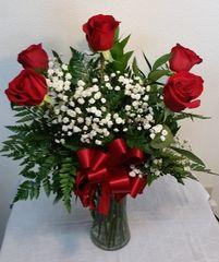 1/2 Dozen Red Roses in vase
