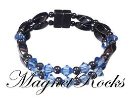 Unity Jewelry Collection Sapphire Crystal Hematite Magnetic Bracelet.