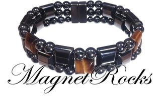 Triple Threat Jewelry Collection Golden Tiger Eye Magnetic Hematite Bracelet