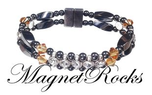 Elegant Jewelry Collection Topaz Crystal, Rhinestone and Hematite Magnetic Bracelet.
