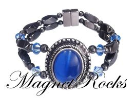 Victorian Jewelry Collection Sapphire Crystal Hematite Magnetic Bracelet