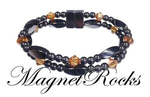 Allure Jewelry Collection Topaz Crystal Hematite Magnetic Bracelet.