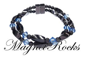 Infinity Jewelry Collection Sapphire Crystal Hematite Magnetic Bracelet.