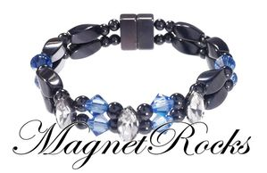 Enchanted Jewelry Collection Sapphire and Clear Crystal Hematite Magnetic Bracelet.