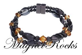 Infinity Jewelry Collection Topaz Crystal Hematite Magnetic Bracelet.