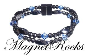 Allure Jewelry Collection Sapphire Crystal Hematite Magnetic Bracelet.