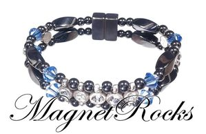 Elegant Jewelry Collection Sapphire Crystal, Rhinestone and Hematite Magnetic Bracelet.