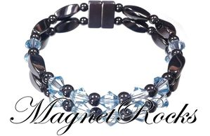 Unity Jewelry Collection Aquamarine Crystal Magnetic Hematite Bracelet
