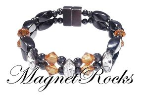 Enchanted Jewelry Collection Topaz and Clear Crystal Hematite Magnetic Bracelet.