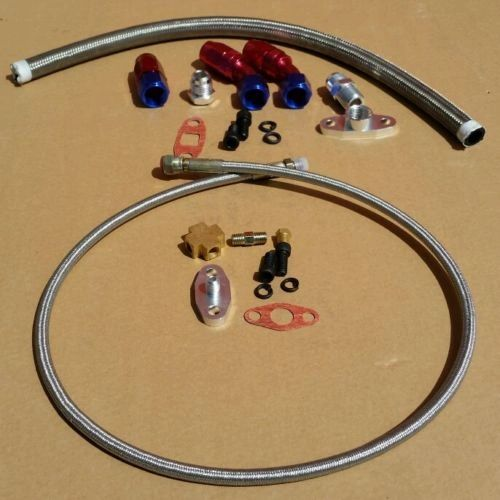 "OIL FEED LINE WITH FIRE SLEEVE 36""- 4AN + OIL DRAIN LINE 17"" 10AN UNIVERSAL KIT"