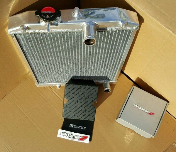 92-00 CIVIC EJ/EK/EG/INTEGRA DB DC 2-ROW FULL ALUMINUM RADIATOR + SKUNK2 CAP