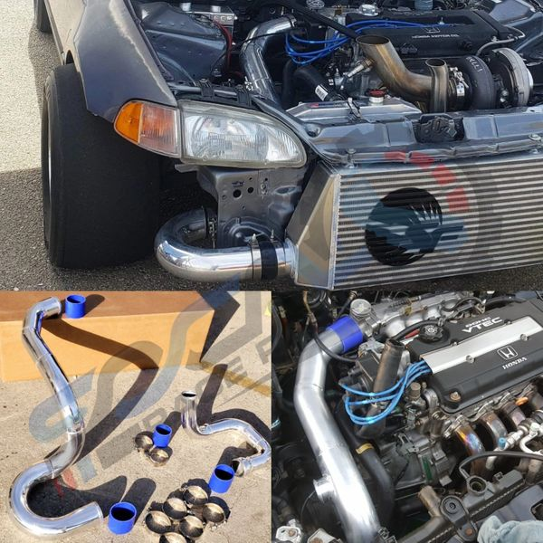 TURBO INTERCOOLER PIPING KIT FOR HONDA CIVIC 92-00 D15 B16 B18 B20 INTEGRA EG for USE with Skunk2 Ultra Intake Manifold
