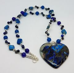 Blue Sea Sediment Jasper Heart Necklace