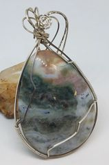Ocean Jasper Wire Wrapped Pendant in Argentium Sterling Silver