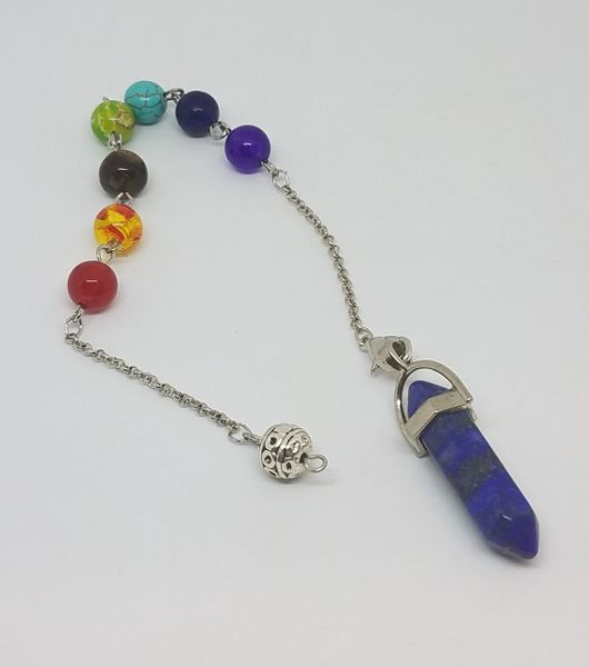 Lapis Pendulum on Beaded Chakra Chain