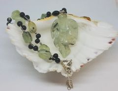 Prehnite and Black Onyx Necklace
