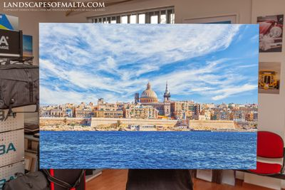 Valletta - A capture at daytime with dramatic clouds - 36 by 24inch printed on fine art canvas