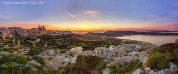 Mellieha panorama at sunset. panoramas of malta and gozo by Derren Vella