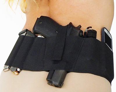Hidden Heat 4 - Elastic Belly Band Concealed Carry Gun Holster - Black