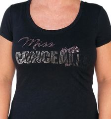 Ladies Miss Concealed Bling Short Sleeved T-shirt - Black