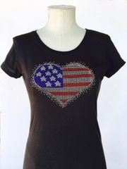 American Heart Bling T-Shirt - Black
